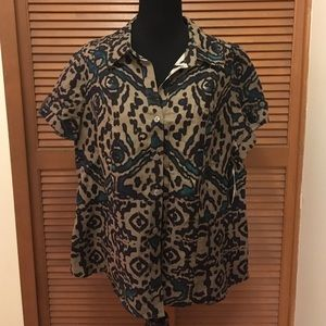 East 5th Tops - NWT East 5th button down top 1X brown blue