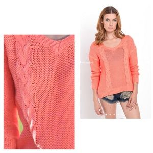 Bardot Sweaters - Chic knit coral sweater, wash-out style.