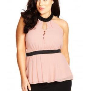 5db8178d1a18d0 City Chic Tops - LAST ONE 22 plus size beaded peplum top pink bead