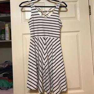 Navy blue &a white striped dress