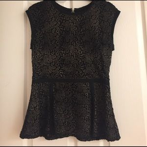 Rachel Zoe top, black and gold lace, Size 8.