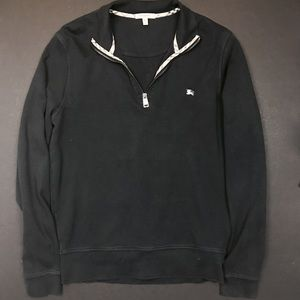Burberry Sweaters - Burberry Half Zip Long Sleeve Faded Black Sweater