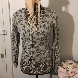Gray, grey animal print button up sweater