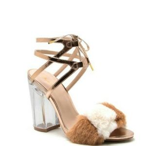 //The Selena// Lace up furry Perspex heel