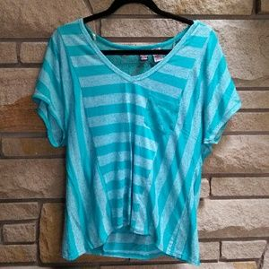 love on a hanger Tops - Turquoise stripe lace T-shirt top