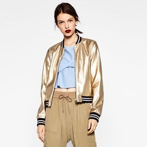 ZARA: GOLD BOMBER JACKET