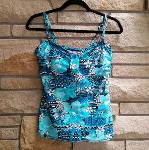 croft & barrow Other - Croft & Barrow blue Hawaiian print tankini top
