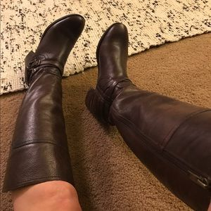 Marc Fisher Leather Riding Boots Zip Audrey Saddle