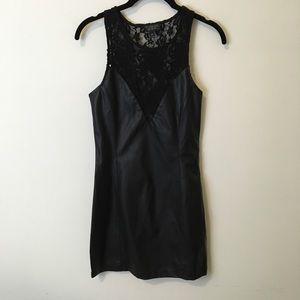 Topshop Dresses & Skirts - TOPSHOP Black Leather Lace Panel Bodycon Dress