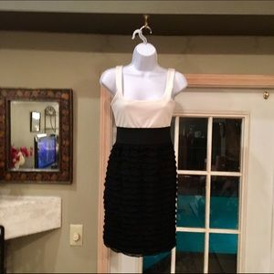 LOVE...ADY Dresses & Skirts - VINTAGE LOVE...ADY CREAM BLACK RUFFLED DRESS