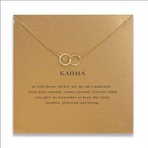 karma large 2 linked  Pendant necklace