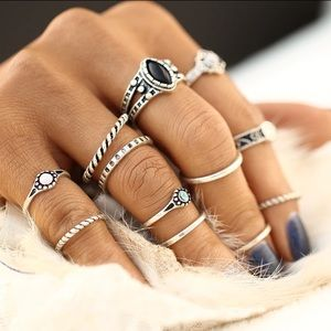 Jewelry - New 12 Piece Silver Bohemian Ring Set