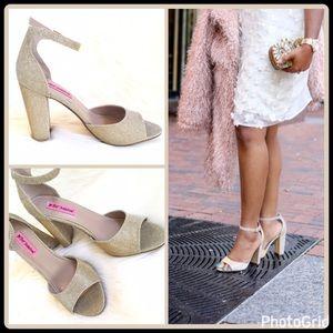 Betsey Johnson Shoes - GLITTERY GOLD MESH HEELS
