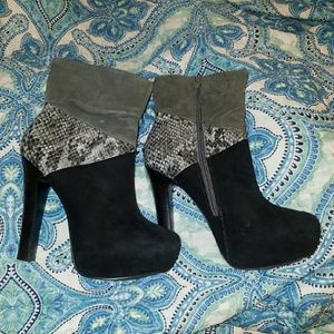 Black suede snakeskin booties