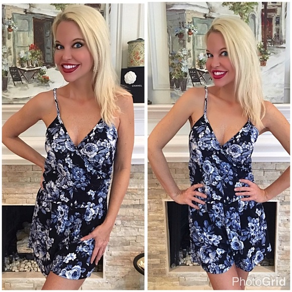 b2179cf2cd00 Obsessed with this blue floral romper!