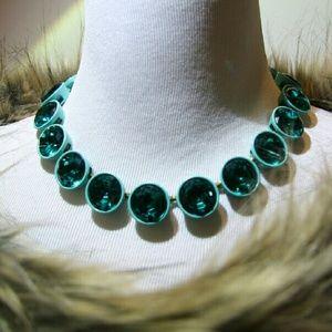 J. Crew Jewelry - J. Crew Brulee Necklace w/ Aqua Glass Jewel Stones