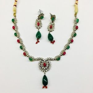 Jewelry - Emerald and Ruby stone  statement Necklace set
