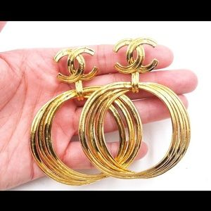 Vintage Gold Chanel Hoop Earrings Clip One