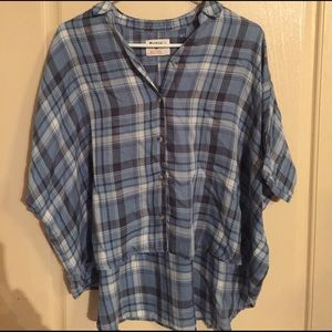 Holding horses over sized plaid button up top sm
