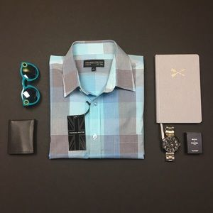 Thomas Payne Blue Striped Button Down Dress Shirt