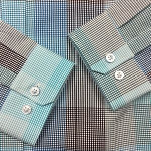 Thomas Payne Shirts - Thomas Payne Blue Striped Button Down Dress Shirt