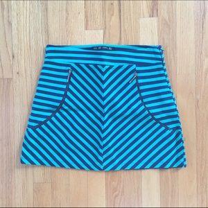 ZARA Striped Green and Blue Skirt