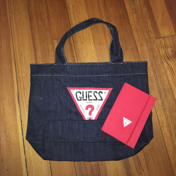 Guess Bags   Denim Tote Bag With Notebook   Poshmark 02b31c257e