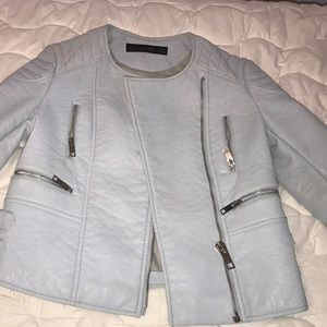 Zara baby blue leather jacket