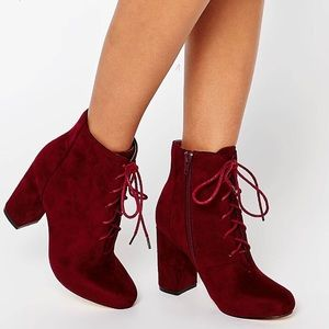 NWT ASOS Burgundy vegan suede lace up ankle boots