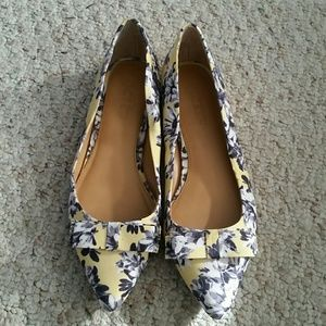 J.Crew Floral Print flat with bow
