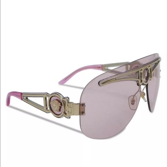 cd640c46ef Versace Pink and Pale Gold Shield Sunglasses. M 5890c05b4e8d172f59100e5d