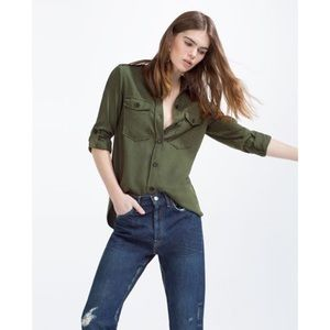 Zara Tops - SALE Zara Premium Denim Collection Military Shirt