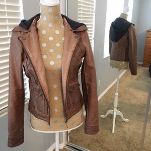 Collection B Jackets & Blazers - Brown Faux Leather Jacket