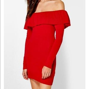 ASOS Dresses & Skirts - ❤ Red Off The Shoulder Ruffles Sweater Dress ❤
