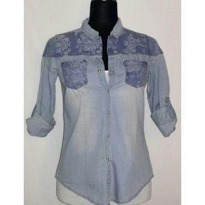 Tops - Floral Chambray Shirt