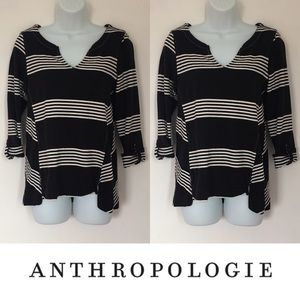 Anthropologie Tops -   Postmark   Black White Chevron Print Tie Top