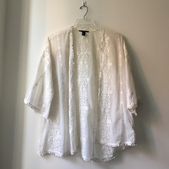 63% off Forever 21 Sweaters - Forever 21 Cream White Sheer Kimono ...