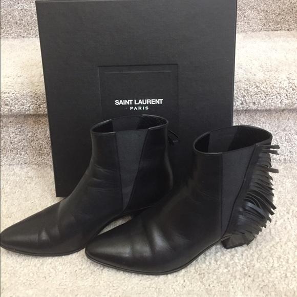 1d76041892b Saint Laurent Shoes | Ysl Wyatt Side Fringe Boots | Poshmark