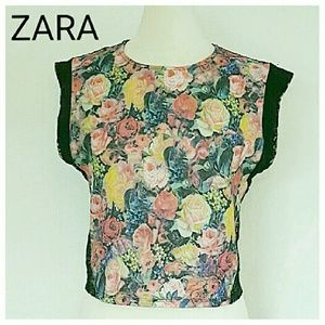 ZARA Floral and lace back top SIZE MEDIUM