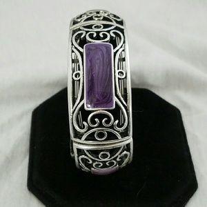 """Silver Tone Filigree & Purple  9"""" Strech Bracelet"""