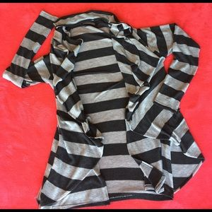 Olivia Moon Sweaters - Dark and light gray block cardigan