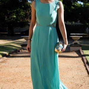 BCBGMaxAzria Dresses & Skirts - BCBG Floor Length Aqua Karey Lace Dress