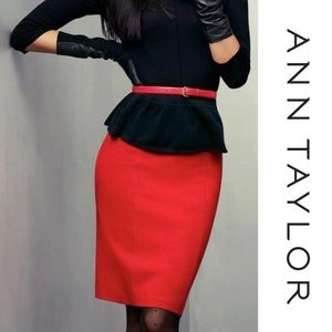 Ann Taylor Dresses & Skirts - Ann Taylor bright red/orange pencil skirt fitted
