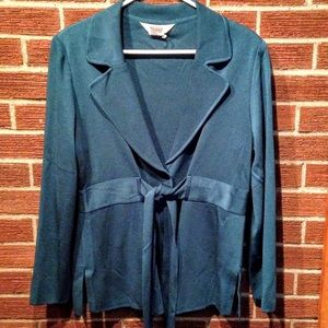 Misook Jackets & Blazers - Exclusively Misook Teal Belted Tunic Jacket