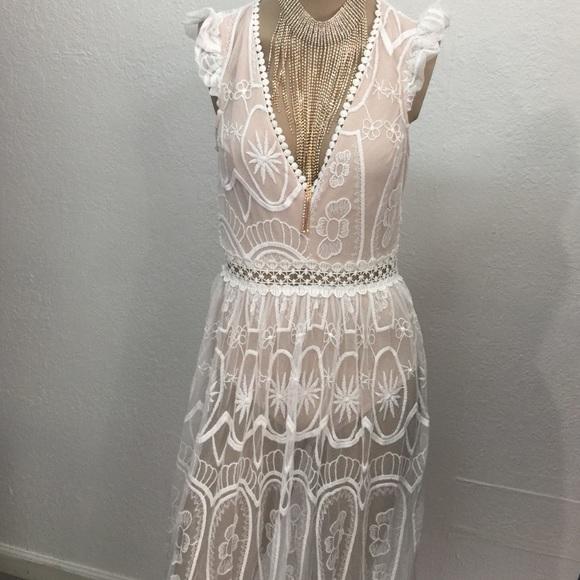 New White Lace Nude Illusion Maxi Dress Nwt