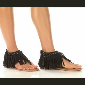 🏁BLACK FRINGE SANDALS🏁-📦NIB 📦