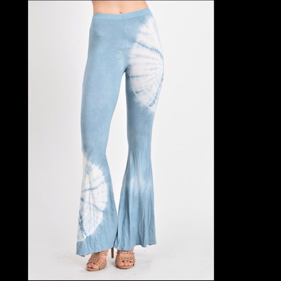 2b61303d72e3fa Light blue tie dye bell bottom pants-KB4373D