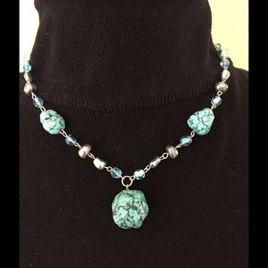 Vintage Turquoise Beaded Silver Necklace
