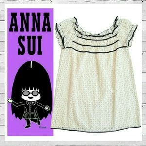 Anna Sui Tops - Anna Sui Eyelet Babydoll Top With Grosgrain Trim