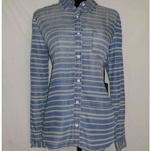 Tops - Striped Chambray Shirt